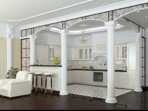 Интерьер гостиной с колоннами — советы дизайнеров