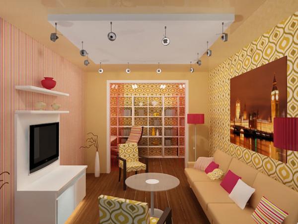 дизайн гостиной прямоугольной формы
