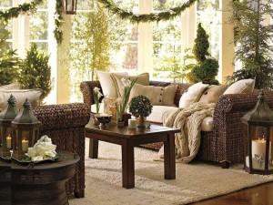живые растения в гостиной