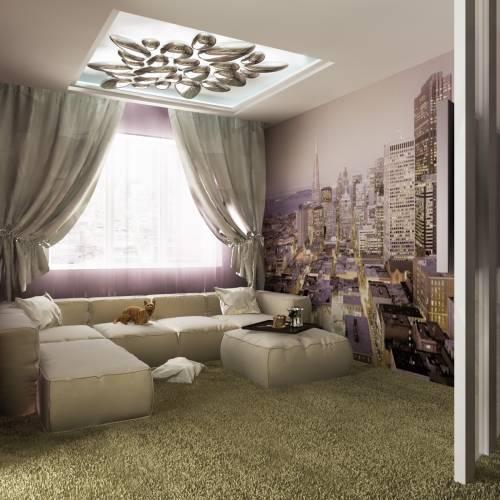 интерьер квадратной комнаты