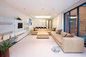 Дизайн интерьера прямоугольной гостиной