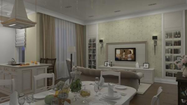 уютный интерьер в гостиной