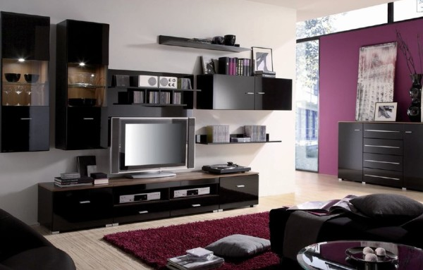 модульная система в интерьере гостиной