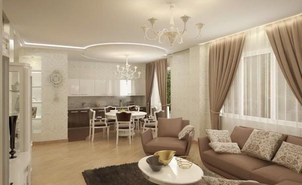 оформление гостиной и столовой зоны