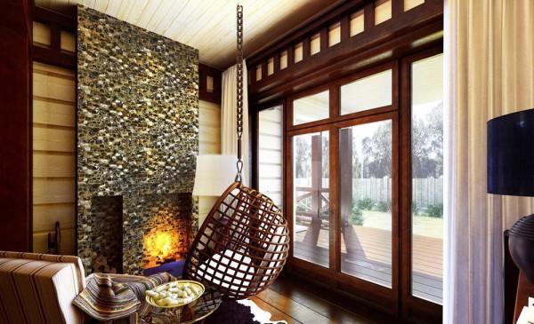 дизайн интерьера дачной гостиной