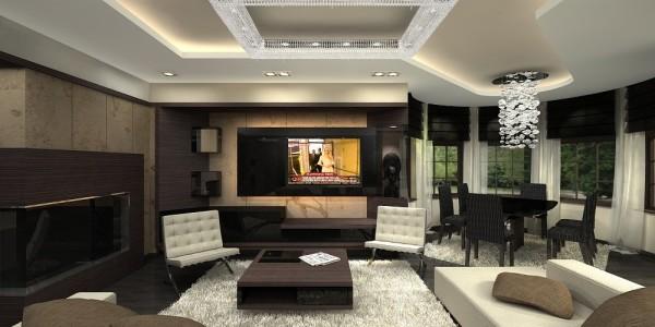 интерьер студийной гостиной