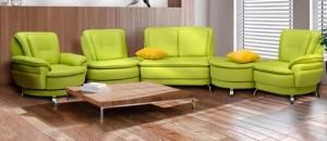 зеленый эркерный диван