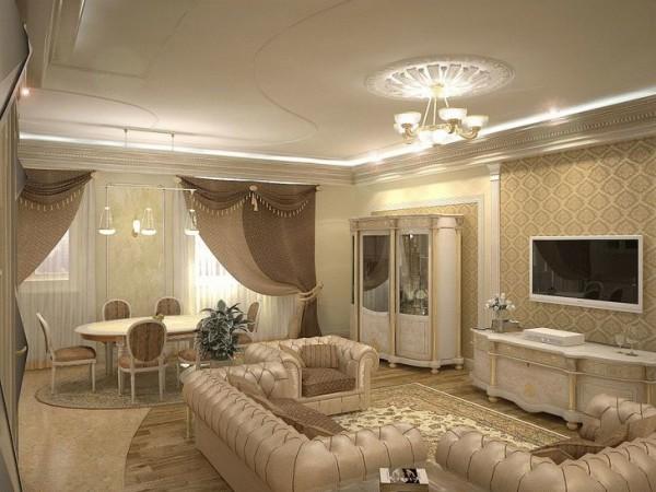 интерьер гостиной и столовой зоны
